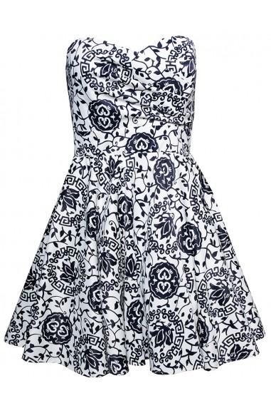 TFNC Tibi White Floral Bandeau Dress