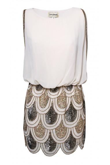 Lace & Beads Sharon-Angela Nude Embellished Dress