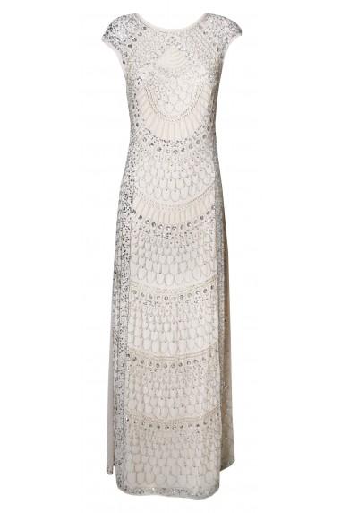 Lace & Beads Teardrop Nude Maxi Dress