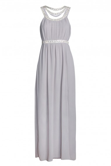 TFNC Helana Grey Maxi Embellished Dress