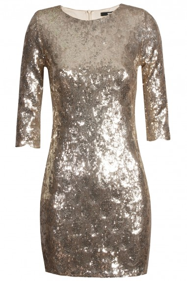 TFNC Paris Scallop Gold Sequin Dress