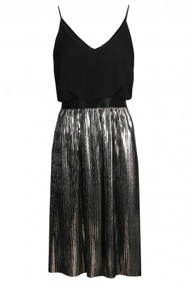 TFNC Andria Metallic Silver Midi Dress