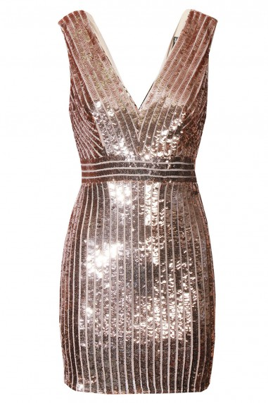 TFNC Oliva Rose Gold Sequin Dress