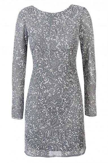 Lace & Beads Porscha Grey Embellished Dress