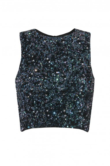 Lace & Beads Picasso Iridescent Black Sequin Top