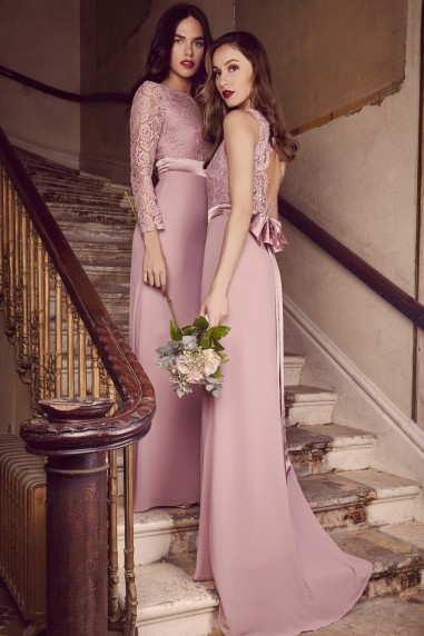 TFNC Halannah Lace Sleeveless Pale Mauve Maxi Dress