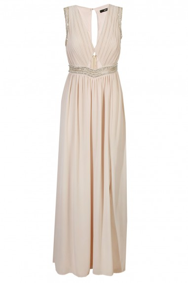 TFNC Kari Nude Maxi Embellished Dress