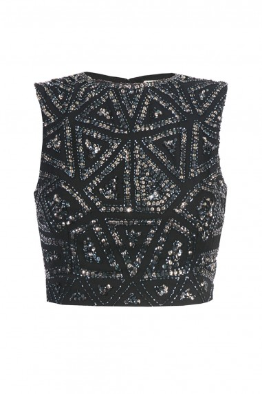 Lace & Beads Star Black Sequin Top