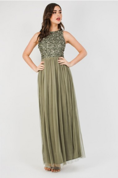 Lace & Beads Picasso Khaki Embellished Maxi Dress