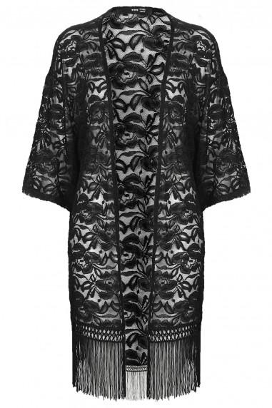 TFNC Kendall Black Fringe Kimono