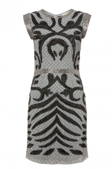 Lace & Beads Malta Grey Embellished Dress