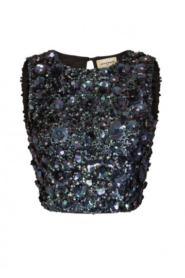 Lace & Beads Hazel Iridescent Black Sequin Top
