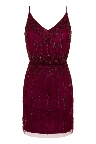 Lace & Beads Keeva Burgundy Mini Dress