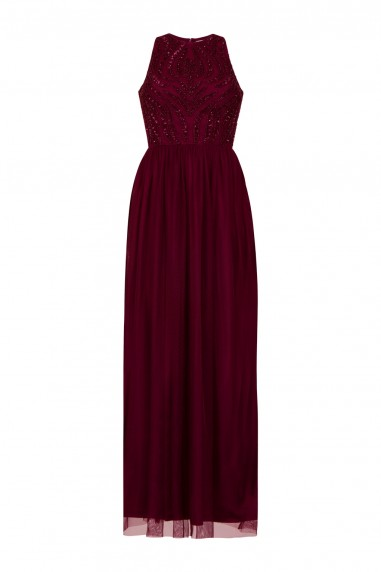 Lace & Beads Marcia Burgundy Maxi Dress