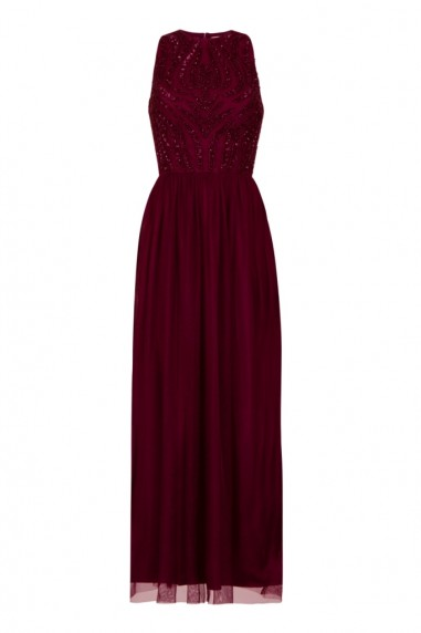 Lace & Beads Marcia Plum Maxi Dress