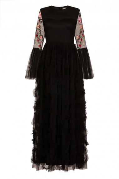 Lace & Beads Kya Black Maxi Dress