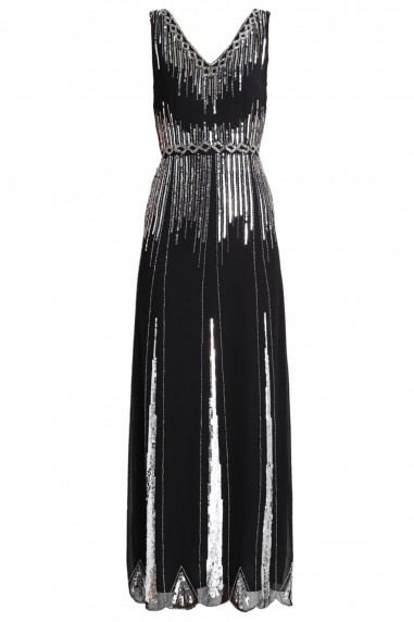 Lace & Beads Virginia Black Embellished Maxi Dress