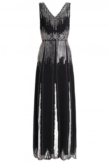Lace & Beads Virginia Black Embellished Maxi Dress