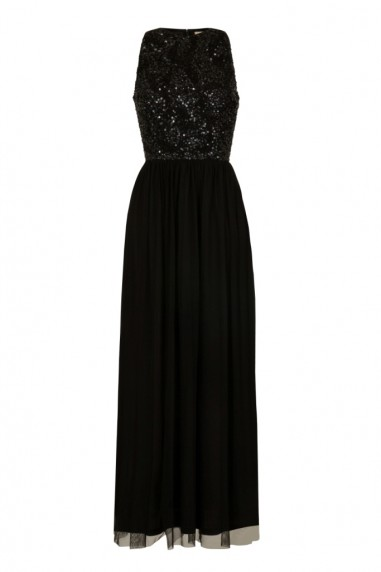 Lace & Beads Maheen Black Embellished Maxi Dress