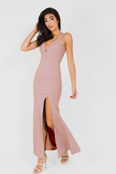 WalG Deep V Pink Maxi Dress