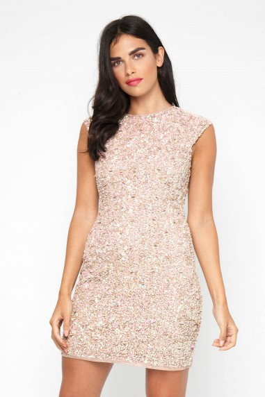 Lace & Beads Spica Pink Sequin Dress