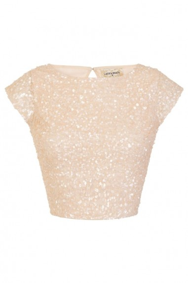 Lace & Beads Elaine Nude Sequin Top
