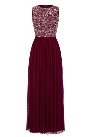 Lace & Beads Picasso Burgundy Embellished Maxi Dress