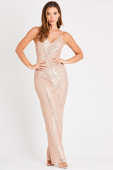 Skirt & Stiletto Valentina Rose Gold Sequin Maxi Dress
