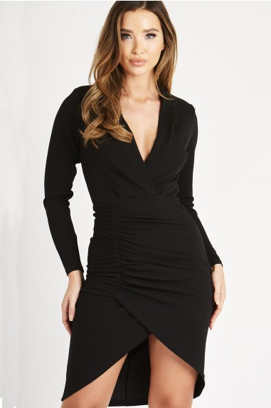 Skirt & Stiletto Gabriela Black Long Sleeve Ruched Midi Dress
