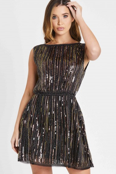 Skirt & Stiletto Paris Cooper and Black Beaded Mini Dress