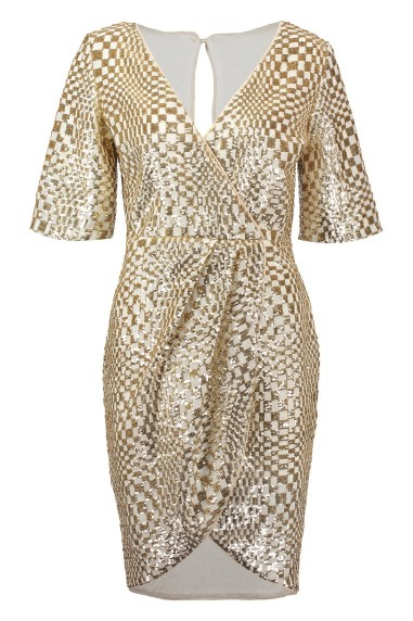 TFNC Gin Square Gold Sequin Dress