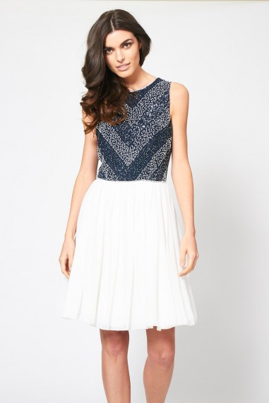 Lace & Beads Bollywood Navy Dress