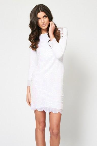 TFNC Iridescent Scallop Sequin Dress