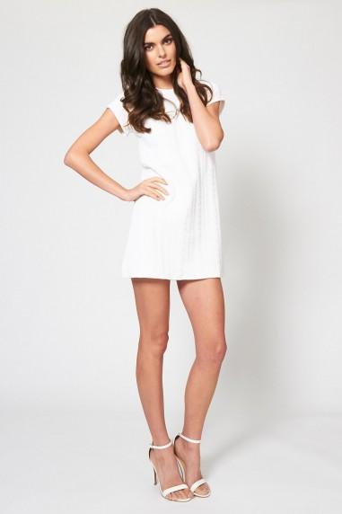 TFNC Natacha White Textured Dress