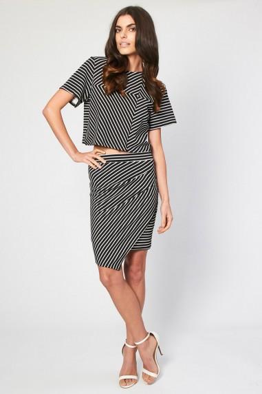 TFNC Jella Stripe Mini Skirt