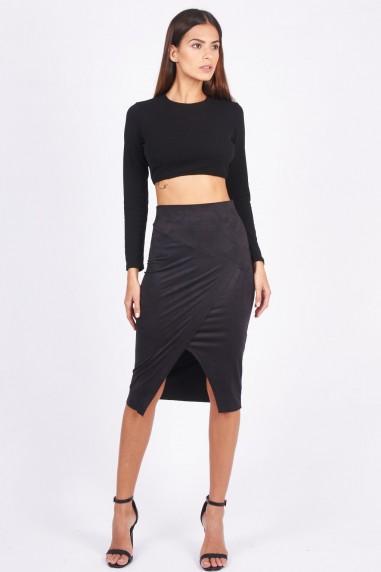 TFNC Leena Black Midi Skirt