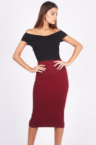 TFNC Rika Wine Midi Skirt