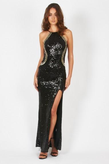 TFNC Cahya Black Sequin Maxi Dress