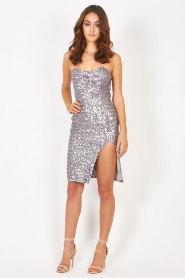TFNC Cirilla Silver Sequin Dress