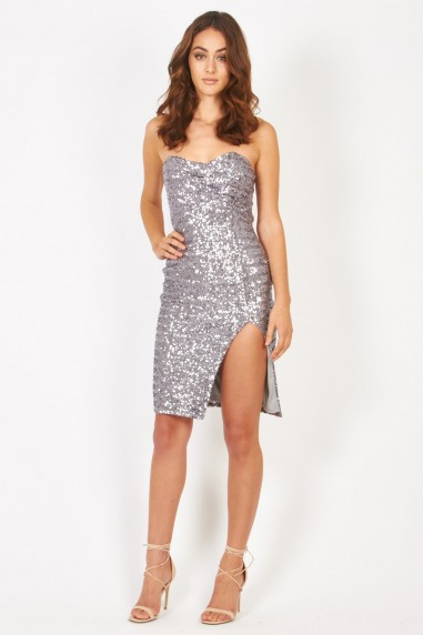 TFNC Cirilla Silver Sequin Dress