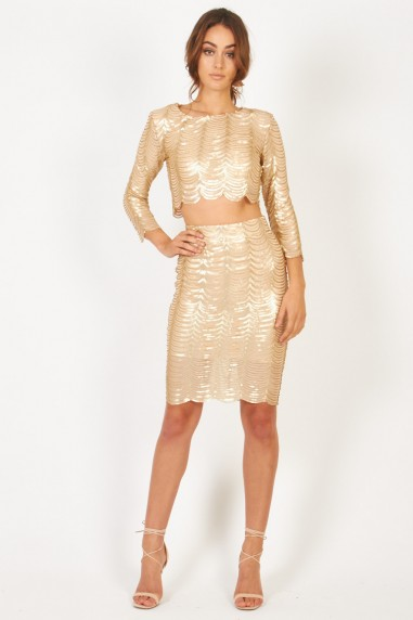 TFNC Scallop Sequin Gold Skirt
