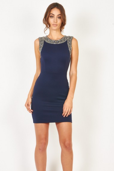 Lace & Beads Becky Bodycon Navy Embellished Dress