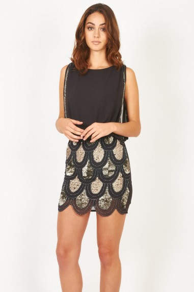 Lace & Beads Sharon Angela Grey Embellished Dress