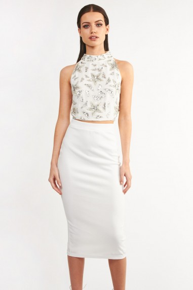 Lace & Beads Melanie White Top