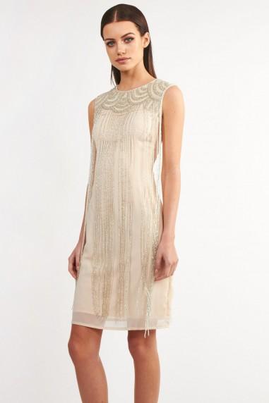 Lace & Beads Taylor Fringe Beige Embellished Dress