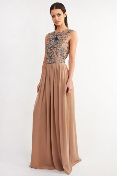 Lace & Beads Paula Taupe Maxi Dress