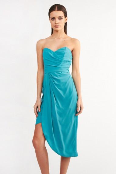 TFNC Dolly Aqua Bandeau Dress
