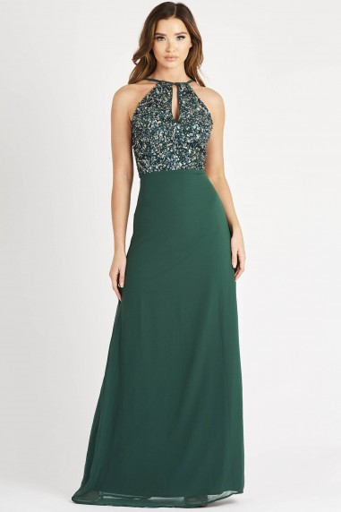 Lace & Beads Basia Green Maxi Dress