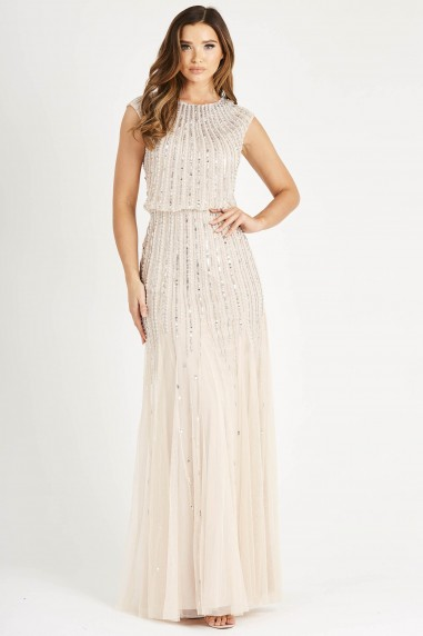 Lace & Beads Maje Nude Maxi Dress