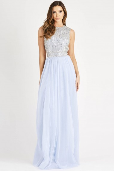Lace & Beads Ariana Sleeveless Light Blue Embellished Maxi Dress